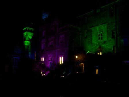 Halloween floodlighting at Haunted Castle Craig y Nos in Wales
