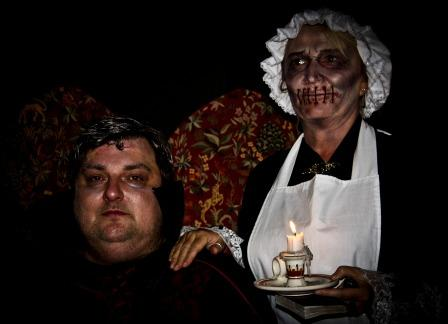 Fright Night Nightmare before Christmas Dracula and mute maid at Craig y Nos most haunted house in Wales