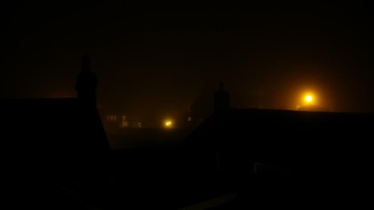 Ghostly Craig y Nos haunted house on a foggy night in Wales