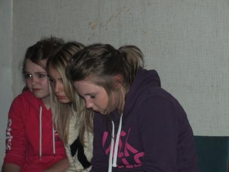 Terrified teens on a teen terror night in Haunted House Craig y Nos Castle, Swansea, Wales