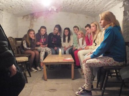 Fright Night teenagers huddle in salt cellar at most haunted house Craig y Nos Castle, South Wales