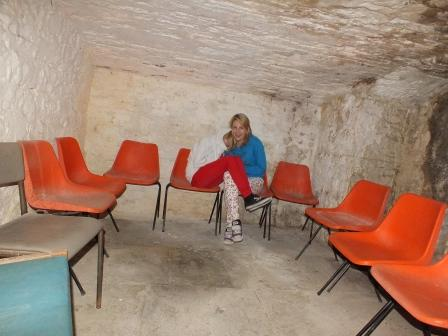 Childrens Fright Night - child seated alone in salt cellar at Craig y Nos Most Haunted Castle Wales
