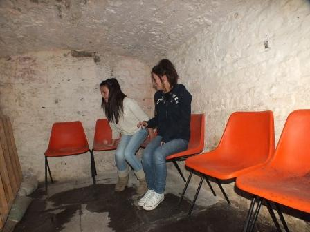 Childrens Fright Night two children in salt cellar at Craig y Nos Most Haunted Castle in Swansea South Wales