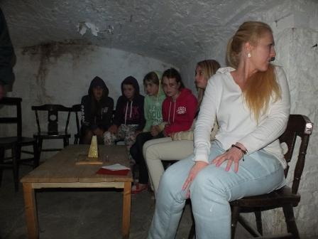 Childrens Fright Night teenagers in the salt cellar at Craig y Nos Most Haunted Castle near Swansea South Wales