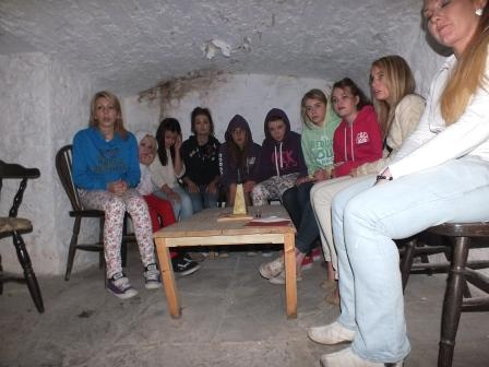 Childrens Fright Night ghost hunting teenagers in salt cellar at Craig y Nos Most Haunted Castle in Wales
