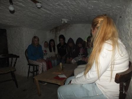 Childrens Fright Night children in salt cellar at Craig y Nos Most Haunted Castle near Swansea South Wales