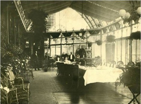 Period picture Craig y Nos Castle Haunted Hotel Conservatory Powys, South Wales, 1910, glass roof and roof canopy