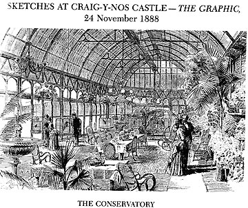 Artists sketch Conservatory at Craig y Nos Castle Haunted house Swansea Valley Wales 1888