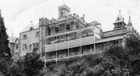 Rear view of Craig y Nos Castle haunted house hospital balconies