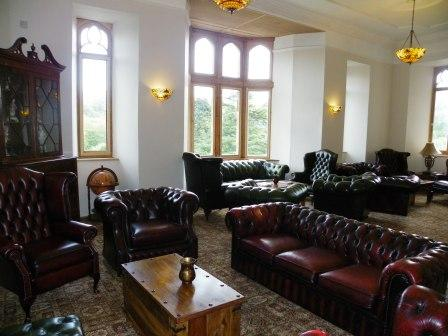 Nicolini Lounge leather chesterfield sofas at Craig y Nos Castle Haunted Hotel in Swansea, Wales