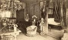 Old photo of Adelina Patti's bedroom at Craig y Nos Castle