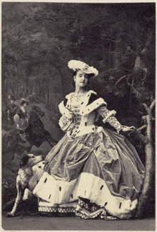 Adelina Patti costumed in her role in an opera