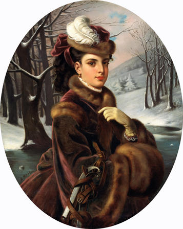 Adelina Patti in mink coat and mink hat with white feather in winter snow Swansea valley