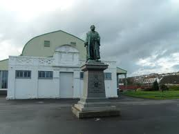 Craig y Nos Patti Pavilion at Swansea South Wales statue of a man on plinth