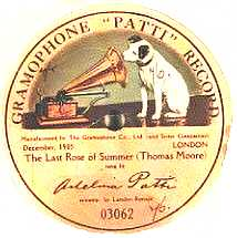 Adelina Patti Gramophone Record with yellow background