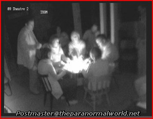 Ghost hunters at seance in theatre cellar at Craig y Nos Castle, Swansea Valley, South Wales