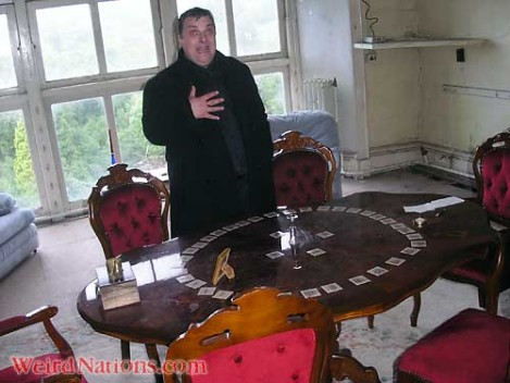 Steve Graham in Patti Boudoir at Craig y Nos Castle haunted house, Wales smart seance table with cards
