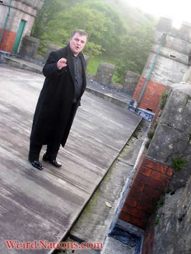 Steve Graham on roof of Craig y Nos Castle haunted house in Powys South Wales